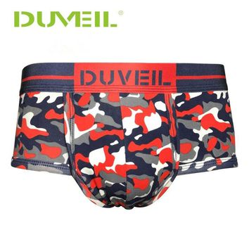 DUVEIL 2Pieces/Lot Men Camouflage Printed Red/Green Underpants Briefs Sports Underwear Sexy Mens Underpants Outdoor Knicker