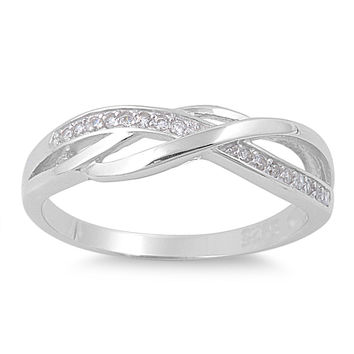 925 Sterling Silver CZ Channel Infinity Ring 5MM