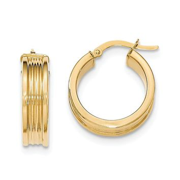 14K Yellow Gold Polished Small Round Hoop Earrings