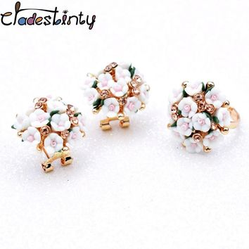Chadestinty Ceramic Flower Earrings Set Bridal Rhinestone Jewelry Sets For Women Adjustable Ring Set White Pink Floral Jewellery