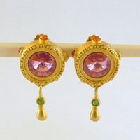 Vintage Pink Rhinestone AJC Earrings