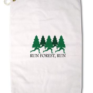 "Run Forest Run Funny Premium Cotton Golf Towel - 16"" x 25 by TooLoud"