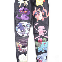 Black Emoji Pokemon Print Joggers Pants