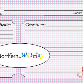 4x6 Printable Baby Shower Recipe Card Set – retro style kids toy illustrations - pastel blue and pink gingham background – INSTANT DOWNLOAD