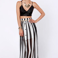 Spy vs. Spy Black and Ivory Striped Maxi Skirt