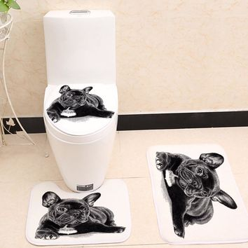 Miracille Cute Black French Bulldog Print 3pcs/Set Toilet Seat Cover Bathroom Indoor Non-Slip Coral Fleece Floor Mat Bath Decor