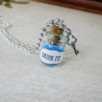 Drink Me - Alice in Wonderland - 0.5ml Glass Bottle Necklace - Vial Pendant Potion Charm