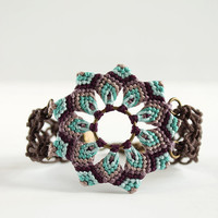 Macrame boho mandala flower bracelet light blue