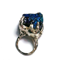 Handmade 925 Blue Pyrite ring ON SALE
