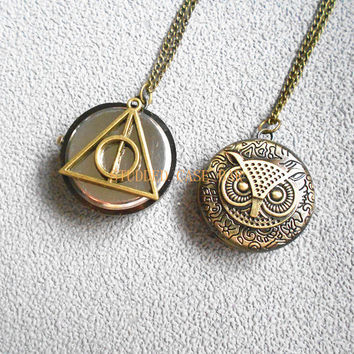 owl with Harry Potter Pocket deathly hallows at the back  Watch locket Necklace