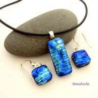 Iridescent Blue Fire Dichroic Fused Glass Jewelry Set