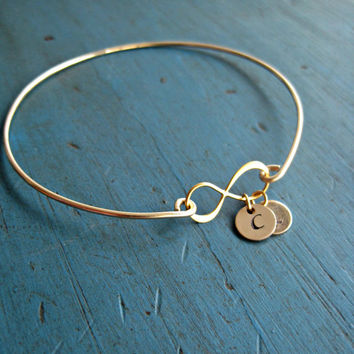 Gold Infinity Initial Bangle Personalized Bracelet Gift Mommy Jewelry Lovers Bracelet Mothers Jewelry Mother of the Bride Gift