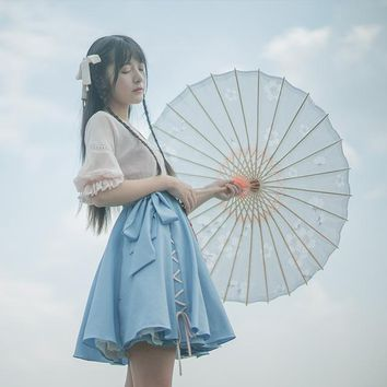 """Drizzle"" Chinese Style Mori Girl 2pcs Set Hanfu Dress Pink Blue Cross Tie Chiffon Dress & Suspender Vest Elegant"