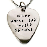 "Music gift ""When words fail music speaks"" necklace for men or women"