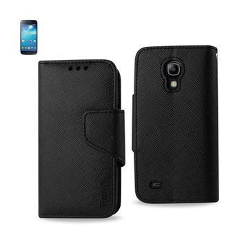 New 3 In 1 Wallet Case In Black For Samsung Galaxy S4 Mini By Reiko