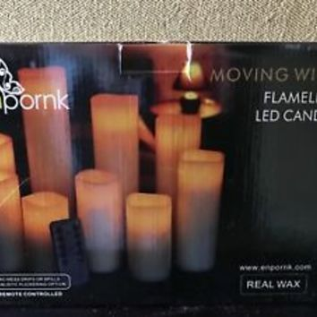 Flameless Candles Battery Operated LED Pillar Wax Flickering by Enpornk