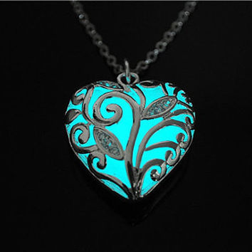 Cyan Glow in the Dark Heart Necklace , Glowing Pendant , Glow Jewelry , Bridesmaid Proposal Engagement Anniversary Prom Gift