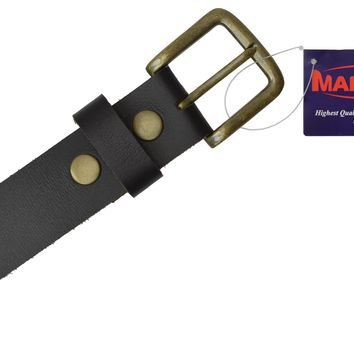 """Men's Casual Belt 1.5"""" Wide Top Grain Genuine Leather Gold Buckle by Marshal"""