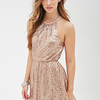 FOREVER 21 Sequined High-Neck Dress Bronze