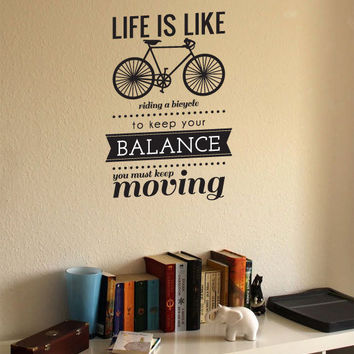 life is like riding a bicycle...vinyl wall decal