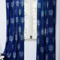 "Indigo curtains window curtain Indigo blue bedroom - ONE Panel - 44""x84"" or 96""L - hand block printed - Cotton - Home and Living - Tree"
