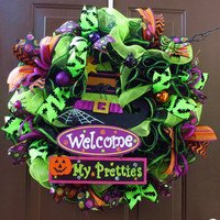 Halloween Mesh Wreath - Deco Mesh Wreath - Witch Mesh Wreath - Halloween Wreath - Witch Wreath - Welcome My Little Pretties