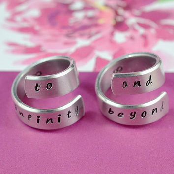 Handwritten Font Version - to infinity and beyond - Couples Ring Set, Hand Stamped, Twist Aluminum Rings, Shiny,  Skinny