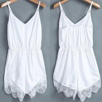 Women's White Lace Chiffon Sleeveless Jumpsuit Romper (S)