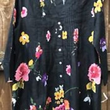 Soft Surroundings Black Floral Pintuck Tunic Top NEW