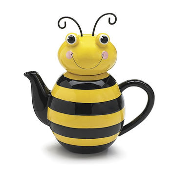 Honey Bee Ceramic Teapot Kitchen Home Decor Bug Bumble