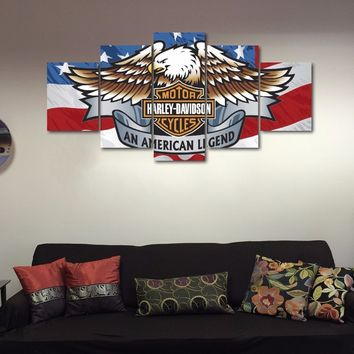 American Eagle Harley-Davidson motorcycle canvas wall art for home decor