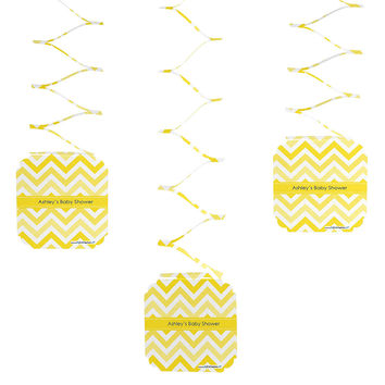 Chevron Yellow - 3 Personalized Baby Shower Hanging Decorations
