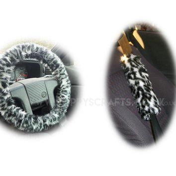 Snow Leopard fuzzy Steering wheel cover & matching faux fur seatbelt pad set
