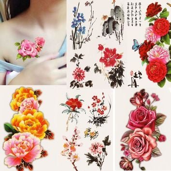 1x DIY Body Art Temporary Tattoo Colorful Flower Watercolor Painting Drawing Decal Waterproof Tattoos Sticker
