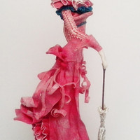 "Art doll ""Lady in pink"", heigh 205 mm"
