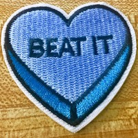 Blue Beat It Heart Iron-On Embroidered Patch 5cm
