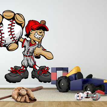 Baseball Boy Wall Decal - Baseball Game Wall Decor Sticker - Baseball Boy Sports Wall Decal - Boy Room Sports Wall Decal for Bedroom mc104