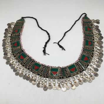 "Vintage Afghan Kuchi Tribal ATS Statement Coins Red Green Inlay Belt 54"",KB20"