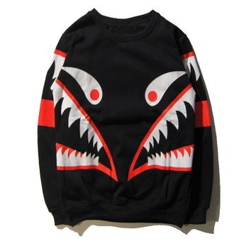 ca qiyif Shark Casual Long Sleeve Pullover