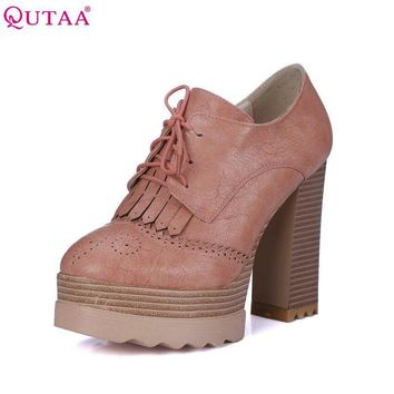 QUTAA 2017 Fashion Ladies Shoes PU leather Tassel Wedge Low Heel Platform Lace Up Woma