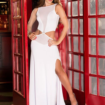White Sleeveless Waist Cut Out Mesh Accent Maxi Dress with Slit