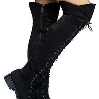 Mark & Maddux Black Nu-Buck Corset Lace Over the Knee Pirate Boot Travis 6-10
