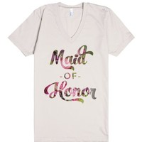 Floral Maid of Honor (Wedding Party Group Shirts)-Natural T-Shirt