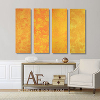 Oversized Watercolor Painting / 4 Panel collection  (36 Inches x 12 Inches) / ORIGINAL Painting /  Yellow, Orange, Sunrise, Sunset