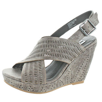 Not Rated Leafy Women's Faux Leather Laser Cut Slingback Wedge Sandal