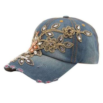 ICIKWJ7 Women Flower Baseball Cap Summer Style Lady Jeans Hats Cowboy Denim Baseball Cap Hat Rhinestone Print Diamond Point  #OR1