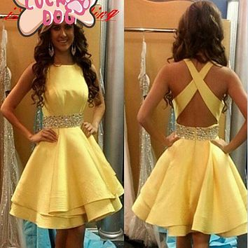 Robe De Cocktail Elegant Cocktail Dresses 2017 Yellow Beaded Open Back Short Mini Summer Dress Prom Dress Party Gowns