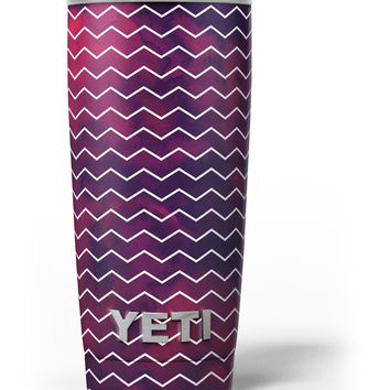 Purple and Red Grunge Clouds with White Chevron Yeti Rambler Skin Kit