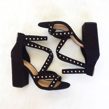 Francesca Studded Heels in Black