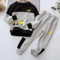 Puma Girls Boys Children Baby Toddler Kids Child Fashion Casual Top Sweater Pullover Pants Trousers Set Two-Piece